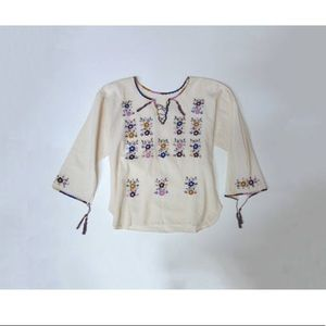 Boho Hippie White Embroidered Floral Tie Blouse
